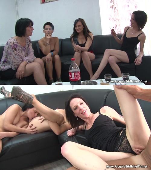 Lucie, Amelie, Lana, Jessica - Gang-bang inverse : quatre filles sur un gars ! [FullHD 1080p] (JacquieetMichelTV)
