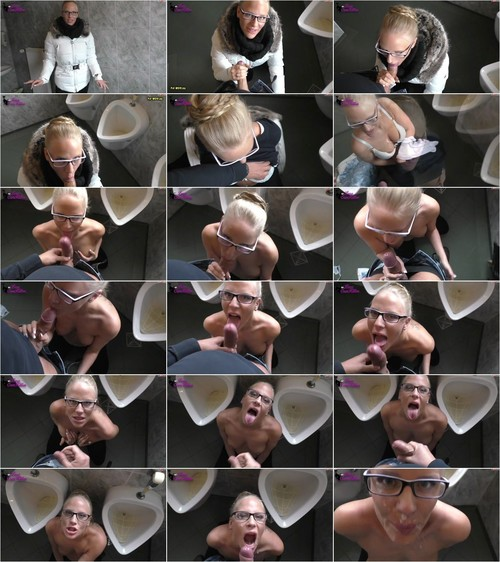 Lara-CumKitten - Schwanzgeil im offentlichen Herren WC - Blowjob Quickie mit Brillen Facial [FullHD 1080p] (MDH)