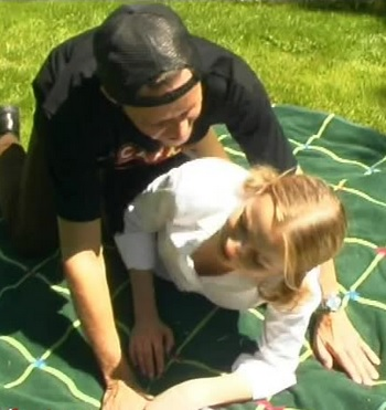 Student in outdoor gangbang