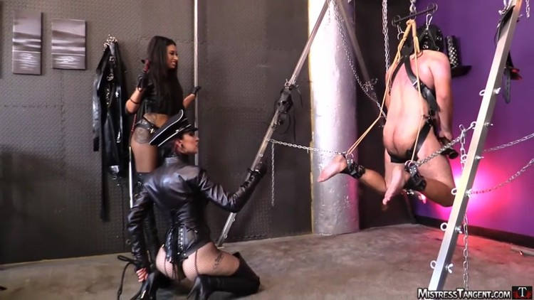 Tangent and cybil whipping and strapon femdom in leather - 2 part 9