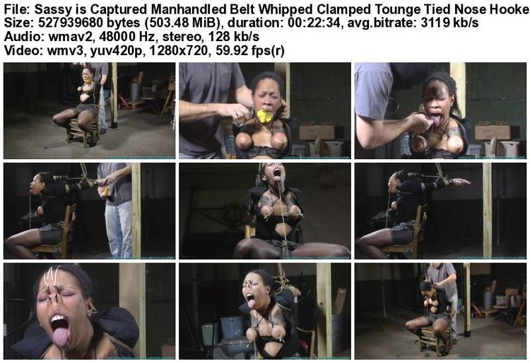 Sassy is Captured Manhandled Belt Whipped Clamped Tounge Tied Nose Hooked Etc 3_thumb,